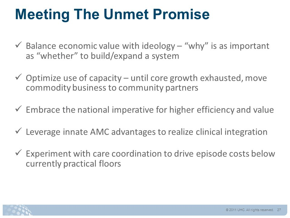 "Meeting The Unmet Promise Balance economic value with ideology – ""why"" is as important as ""whether"" to build/expand a system Optimize use of capacity"