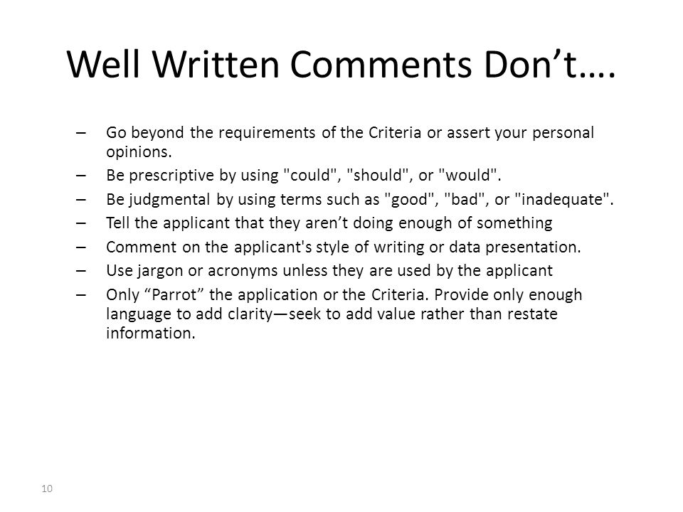10 Well Written Comments Don't….