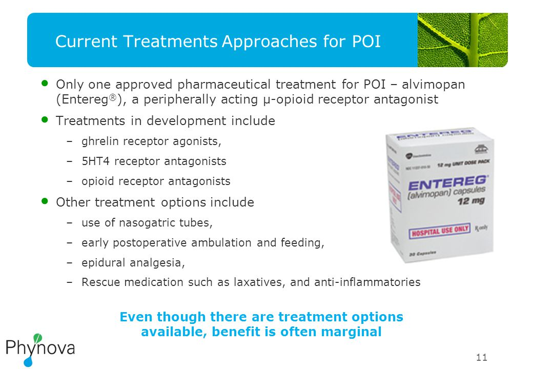11 Current Treatments Approaches for POI Only one approved pharmaceutical treatment for POI – alvimopan (Entereg ® ), a peripherally acting μ-opioid receptor antagonist Treatments in development include –ghrelin receptor agonists, –5HT4 receptor antagonists –opioid receptor antagonists Other treatment options include –use of nasogatric tubes, –early postoperative ambulation and feeding, –epidural analgesia, –Rescue medication such as laxatives, and anti-inflammatories Even though there are treatment options available, benefit is often marginal