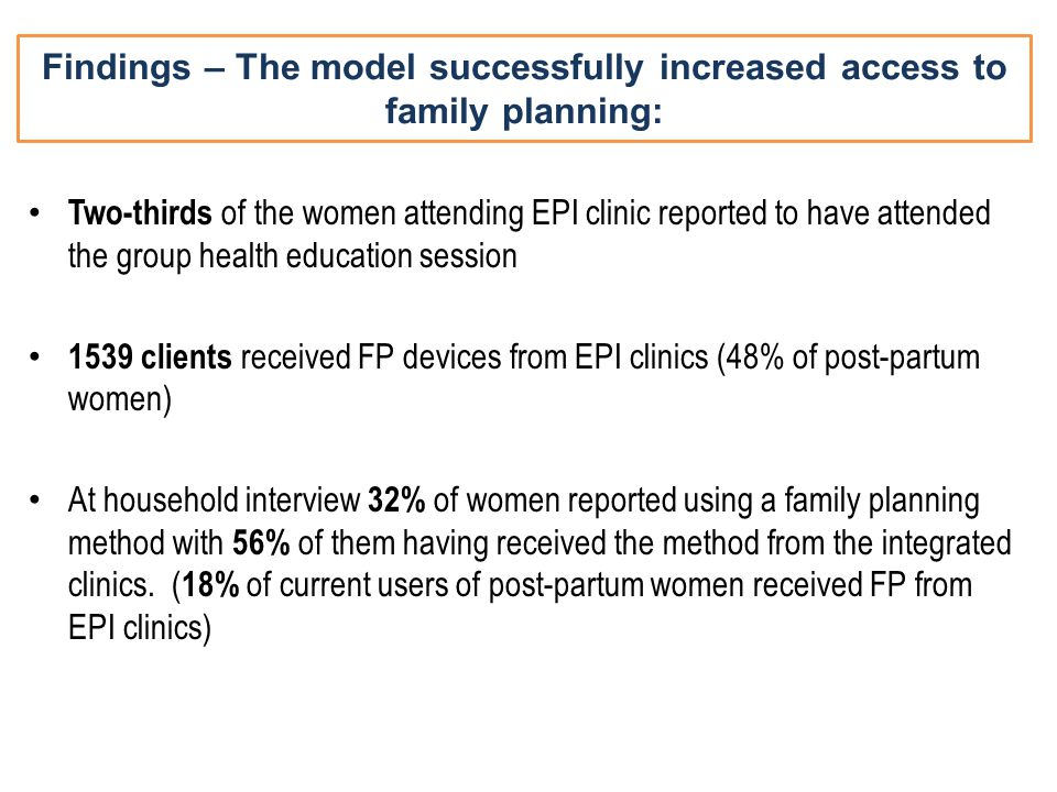 Findings – The model successfully increased access to family planning: Two-thirds of the women attending EPI clinic reported to have attended the grou