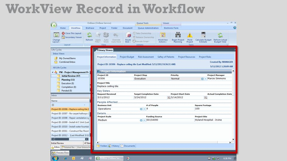 WorkView Record in Workflow