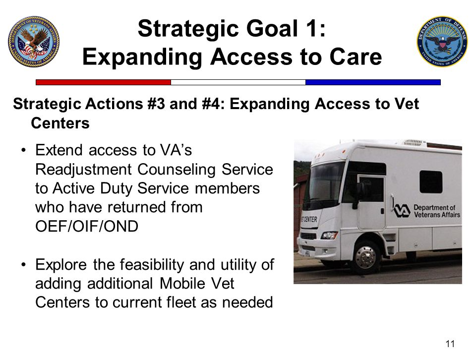 Strategic Goal 1: Expanding Access to Care Strategic Actions #3 and #4: Expanding Access to Vet Centers 11 Extend access to VA's Readjustment Counseli