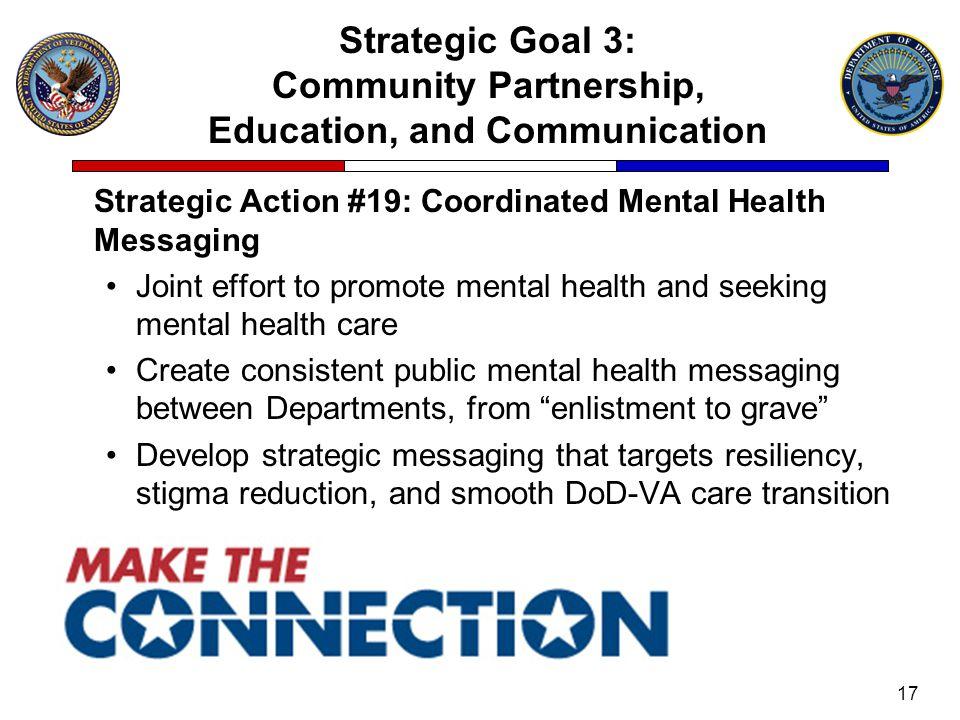 Strategic Goal 3: Community Partnership, Education, and Communication Strategic Action #19: Coordinated Mental Health Messaging Joint effort to promot