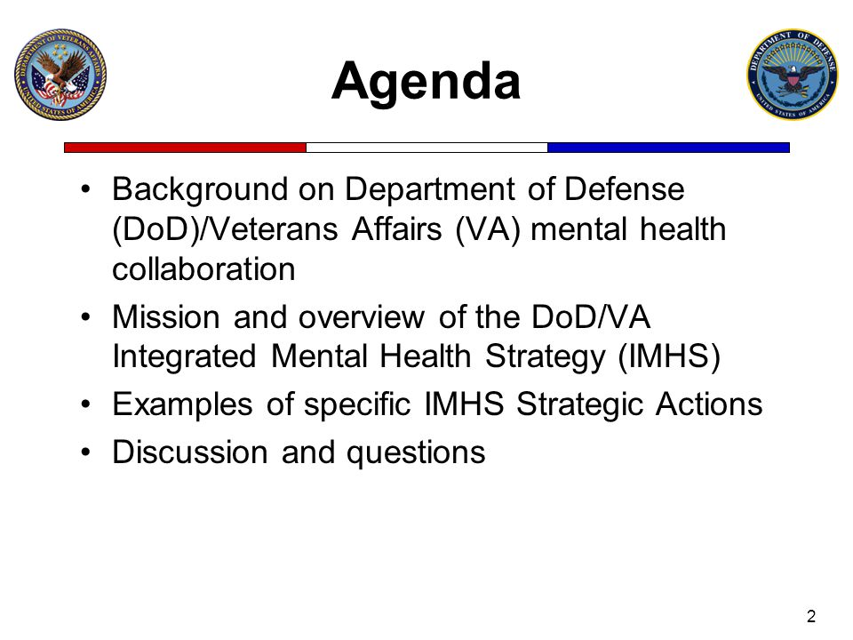 Agenda Background on Department of Defense (DoD)/Veterans Affairs (VA) mental health collaboration Mission and overview of the DoD/VA Integrated Menta