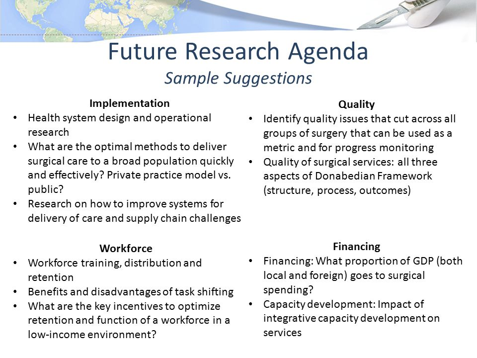 Future Research Agenda Sample Suggestions Implementation Health system design and operational research What are the optimal methods to deliver surgical care to a broad population quickly and effectively.