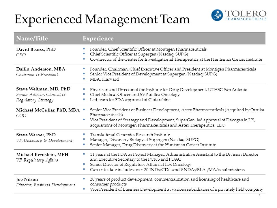 Experienced Management Team 3 Name/TitleExperience David Bearss, PhD CEO  Founder, Chief Scientific Officer at Montigen Pharmaceuticals  Chief Scien
