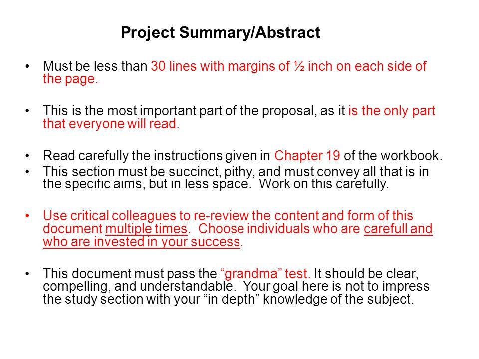 Project Summary/Abstract Must be less than 30 lines with margins of ½ inch on each side of the page.