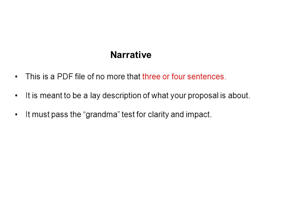 Narrative This is a PDF file of no more that three or four sentences.