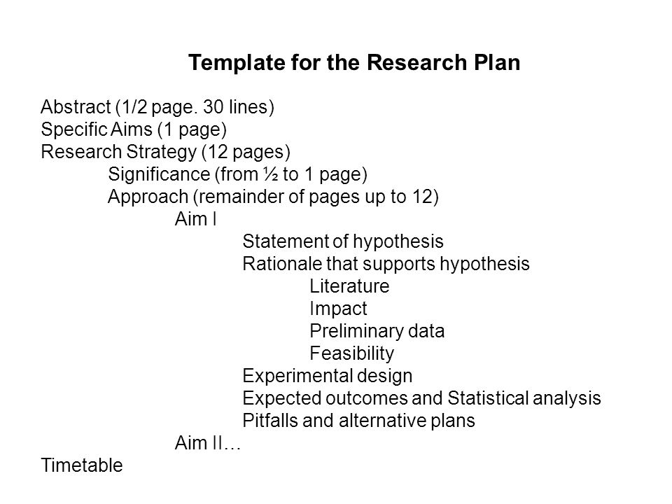 Template for the Research Plan Abstract (1/2 page.