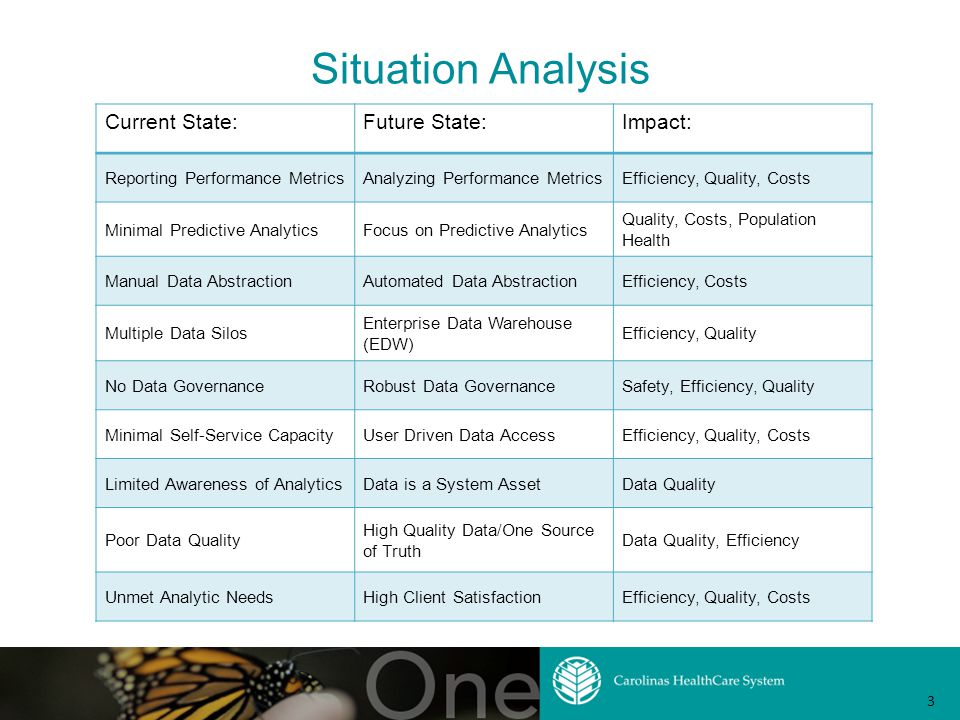 Situation Analysis Current State:Future State:Impact: Reporting Performance MetricsAnalyzing Performance MetricsEfficiency, Quality, Costs Minimal Predictive AnalyticsFocus on Predictive Analytics Quality, Costs, Population Health Manual Data AbstractionAutomated Data AbstractionEfficiency, Costs Multiple Data Silos Enterprise Data Warehouse (EDW) Efficiency, Quality No Data GovernanceRobust Data GovernanceSafety, Efficiency, Quality Minimal Self-Service CapacityUser Driven Data AccessEfficiency, Quality, Costs Limited Awareness of AnalyticsData is a System AssetData Quality Poor Data Quality High Quality Data/One Source of Truth Data Quality, Efficiency Unmet Analytic NeedsHigh Client SatisfactionEfficiency, Quality, Costs 3