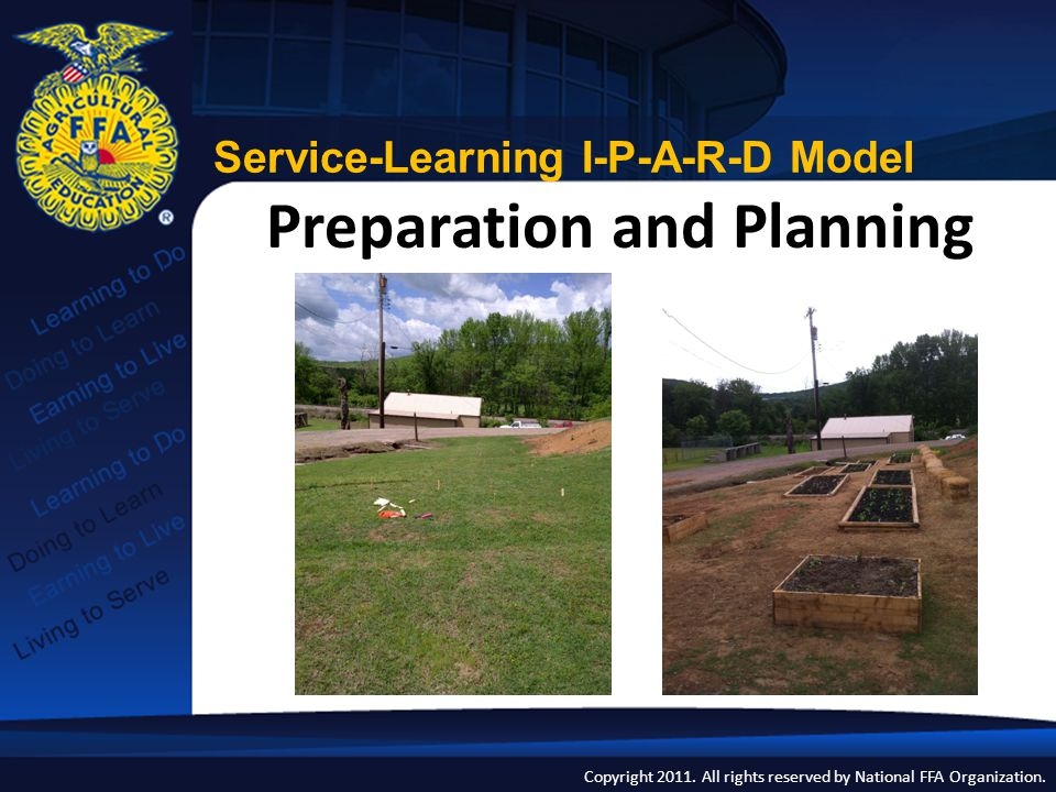 Copyright 2011. All rights reserved by National FFA Organization. Preparation and Planning Service-Learning I-P-A-R-D Model
