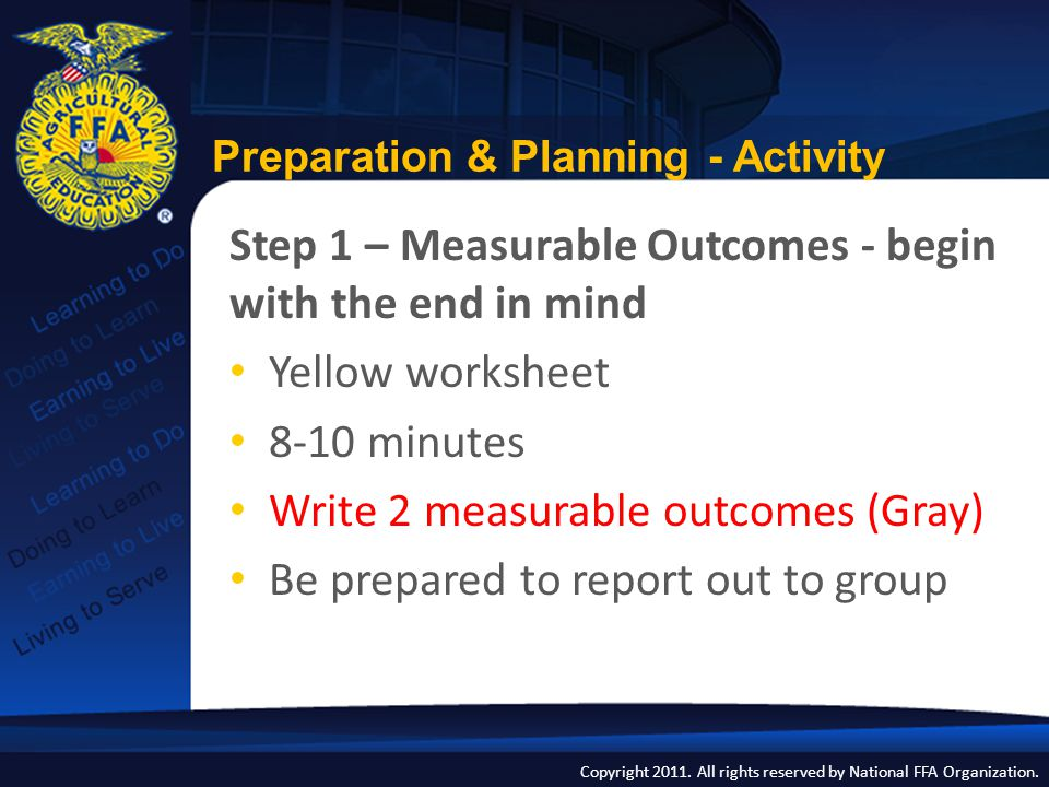 Copyright 2011. All rights reserved by National FFA Organization. Preparation & Planning - Activity Step 1 – Measurable Outcomes - begin with the end