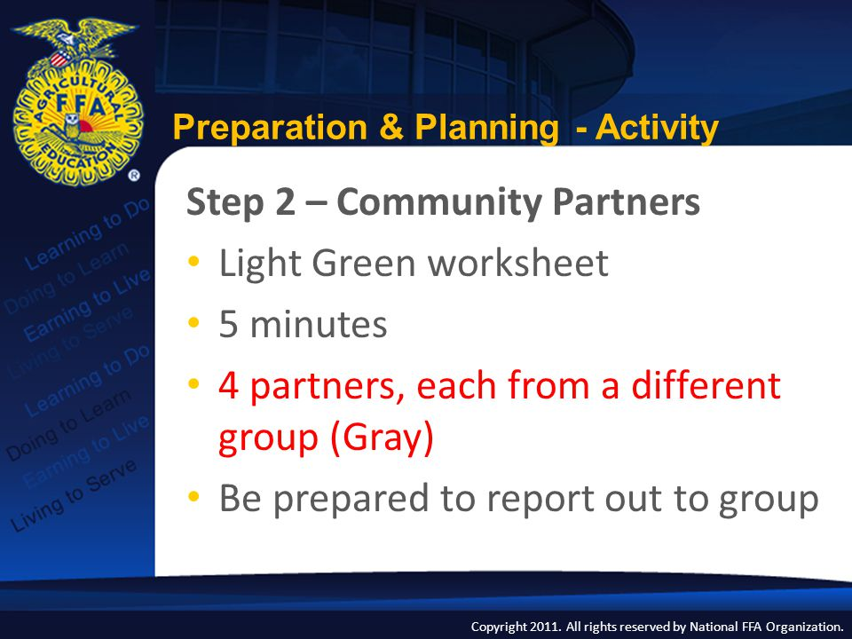 Copyright 2011. All rights reserved by National FFA Organization. Preparation & Planning - Activity Step 2 – Community Partners Light Green worksheet