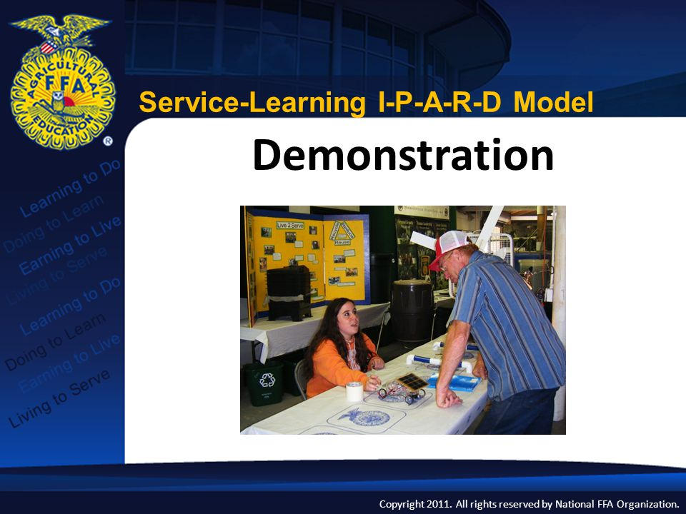 Copyright 2011. All rights reserved by National FFA Organization. Demonstration Service-Learning I-P-A-R-D Model