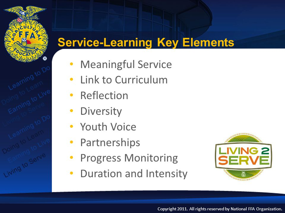 Copyright 2011. All rights reserved by National FFA Organization. Meaningful Service Link to Curriculum Reflection Diversity Youth Voice Partnerships