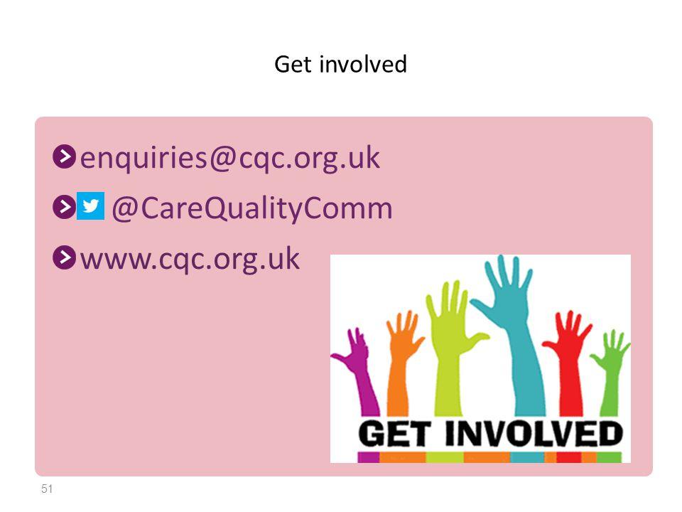51 Get involved enquiries@cqc.org.uk @CareQualityComm www.cqc.org.uk
