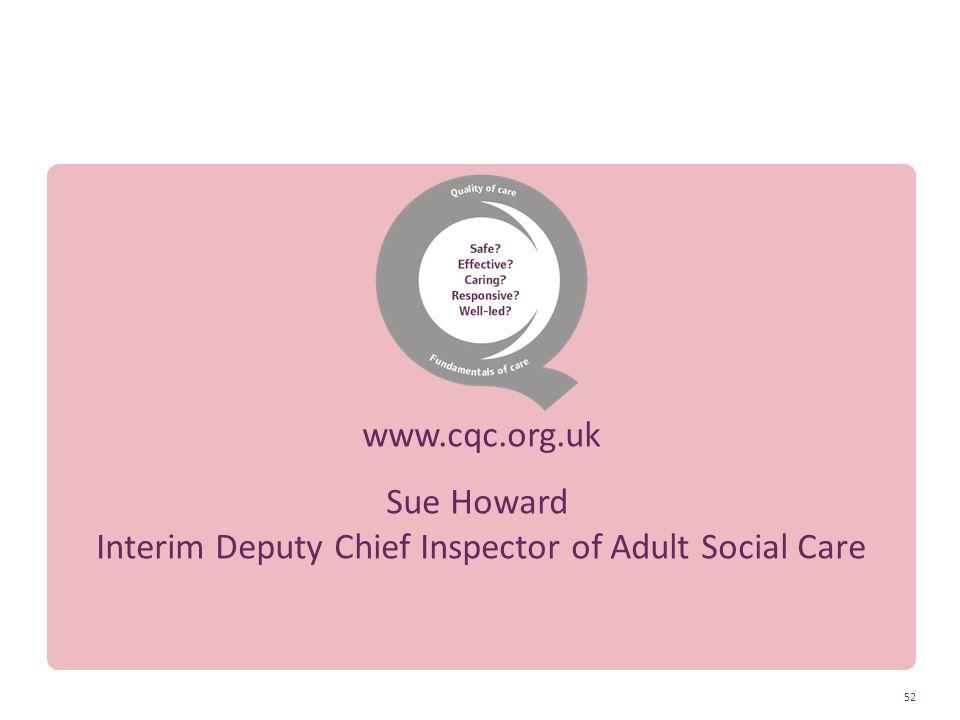 Sue Howard Interim Deputy Chief Inspector of Adult Social Care 52 Thank you