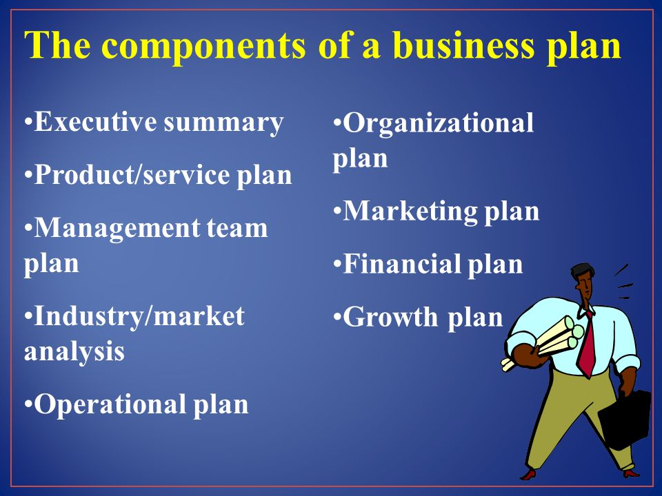 The components of a business plan Executive summary Product/service plan Management team plan Industry/market analysis Operational plan Organizational plan Marketing plan Financial plan Growth plan