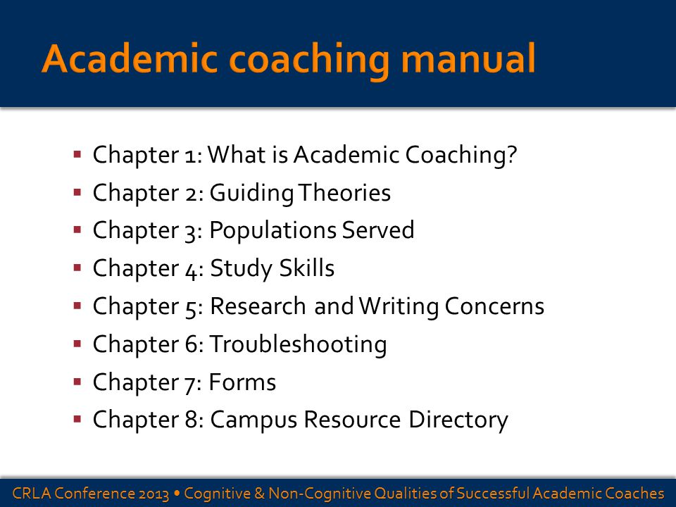  Chapter 1: What is Academic Coaching?  Chapter 2: Guiding Theories  Chapter 3: Populations Served  Chapter 4: Study Skills  Chapter 5: Research