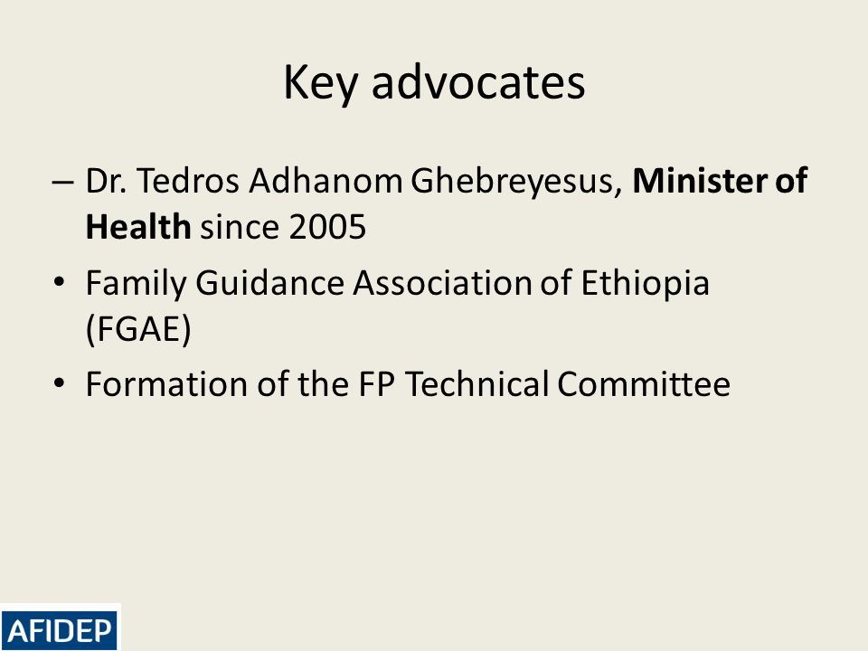 Key advocates – Dr.