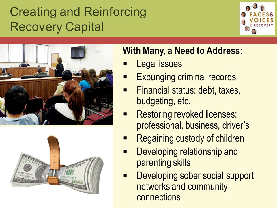 With Many, a Need to Address:  Legal issues  Expunging criminal records  Financial status: debt, taxes, budgeting, etc.