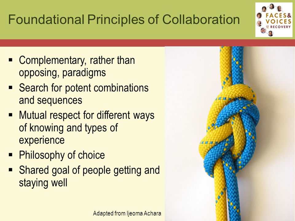 Foundational Principles of Collaboration  Complementary, rather than opposing, paradigms  Search for potent combinations and sequences  Mutual respect for different ways of knowing and types of experience  Philosophy of choice  Shared goal of people getting and staying well Adapted from Ijeoma Achara