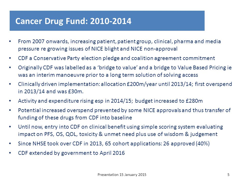 From 2007 onwards, increasing patient, patient group, clinical, pharma and media pressure re growing issues of NICE blight and NICE non-approval CDF a