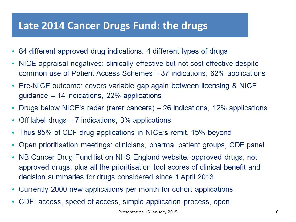 Presentation 15 January 20156 Late 2014 Cancer Drugs Fund: the drugs 84 different approved drug indications: 4 different types of drugs NICE appraisal