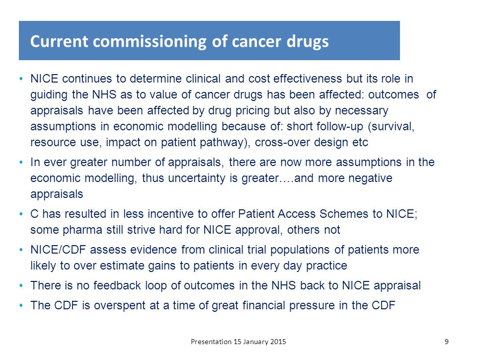 Presentation 15 January 201510 Timeline at present: the Cancer Drugs Fund Evidence of benefit Drug licensing Impact on baseline commissioning or CDF CDF funding NICE technology appraisal CDF depending on NICE decision