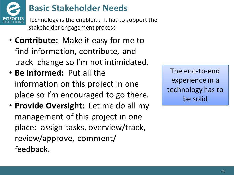 21 Basic Stakeholder Needs Technology is the enabler… It has to support the stakeholder engagement process Contribute: Make it easy for me to find information, contribute, and track change so I'm not intimidated.