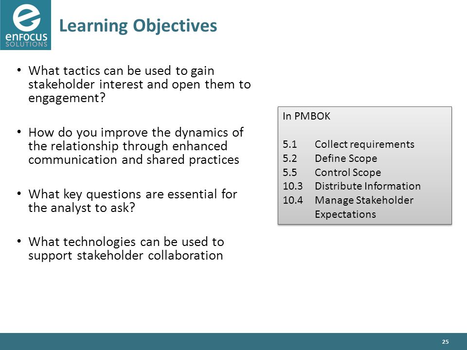 25 Learning Objectives What tactics can be used to gain stakeholder interest and open them to engagement.