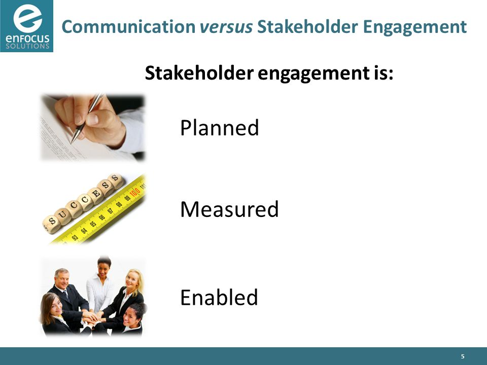 5 Communication versus Stakeholder Engagement Stakeholder engagement is: Enabled Planned Measured