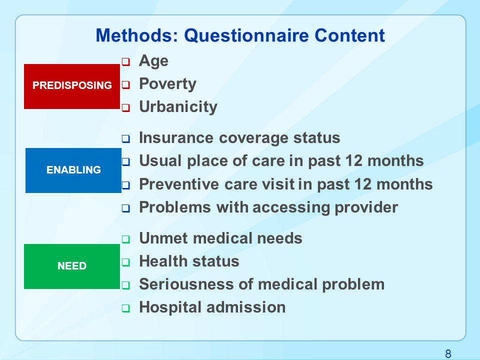 8 Methods: Questionnaire Content  Age  Poverty  Urbanicity  Insurance coverage status  Usual place of care in past 12 months  Preventive care visit in past 12 months  Problems with accessing provider  Unmet medical needs  Health status  Seriousness of medical problem  Hospital admission PREDISPOSING ENABLING NEED
