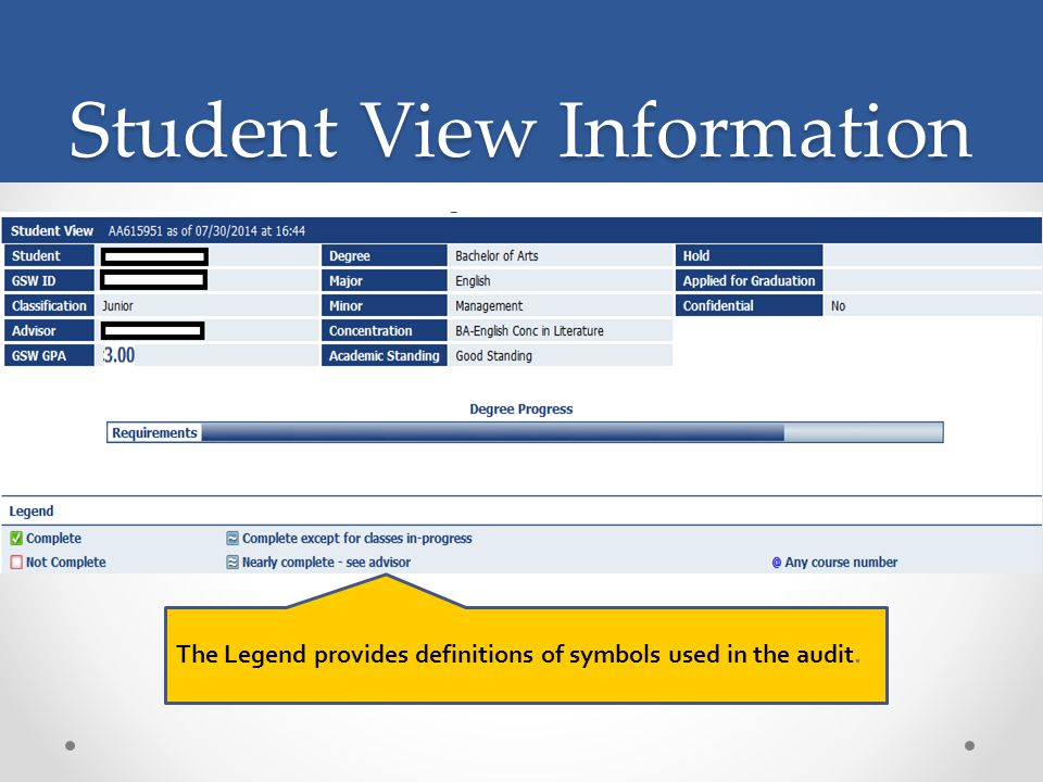 Student View Information The Legend provides definitions of symbols used in the audit.