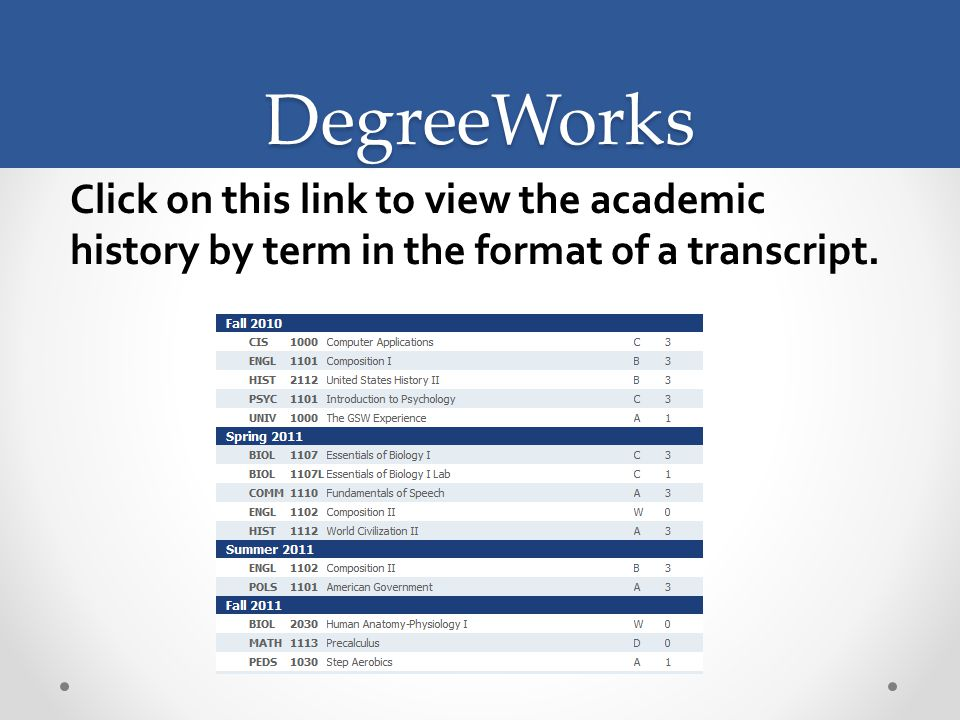 DegreeWorks Click on this link to view the academic history by term in the format of a transcript.