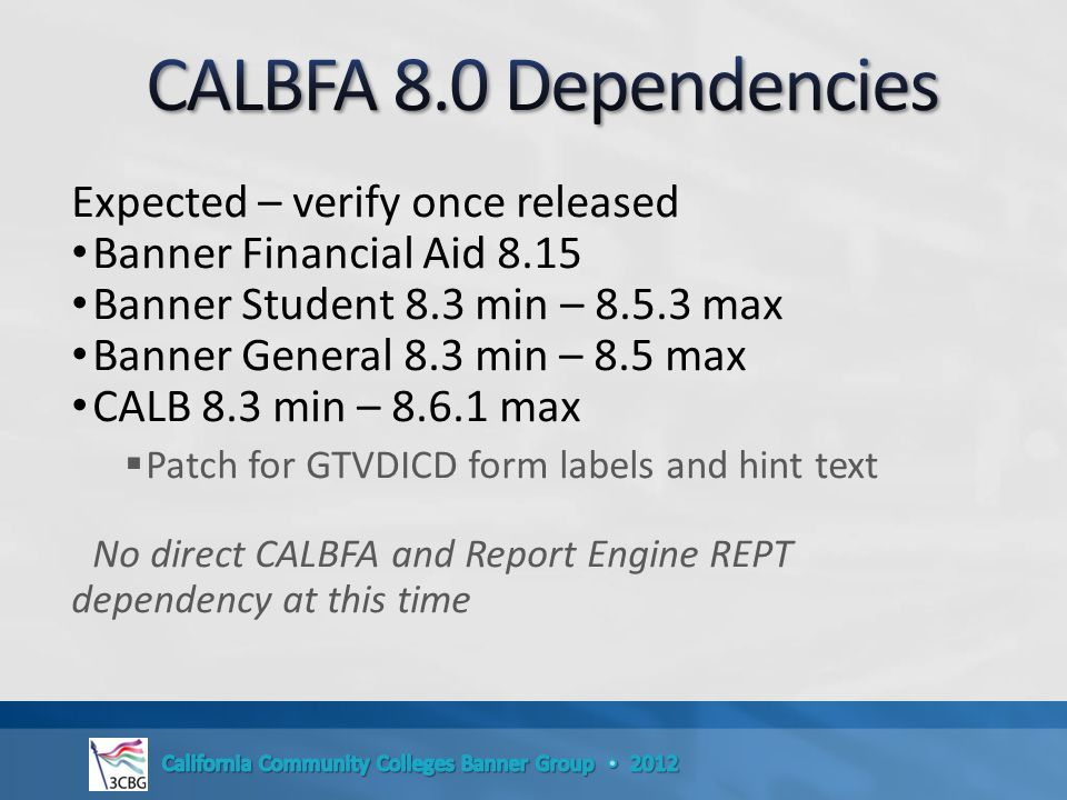 Expected – verify once released Banner Financial Aid 8.15 Banner Student 8.3 min – 8.5.3 max Banner General 8.3 min – 8.5 max CALB 8.3 min – 8.6.1 max  Patch for GTVDICD form labels and hint text No direct CALBFA and Report Engine REPT dependency at this time