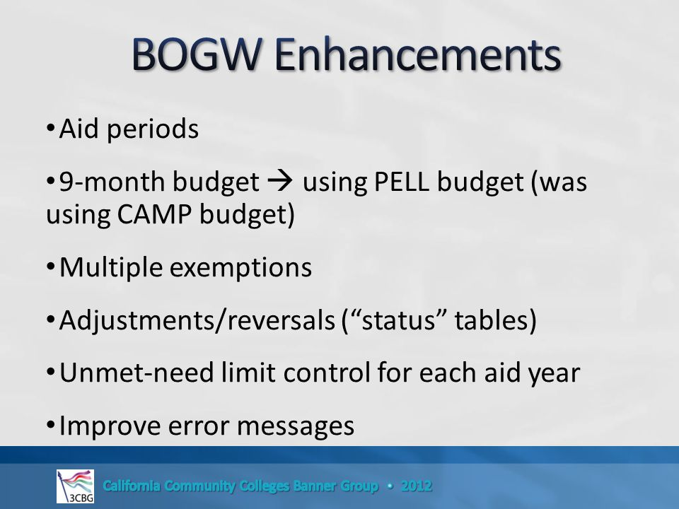 Aid periods 9-month budget  using PELL budget (was using CAMP budget) Multiple exemptions Adjustments/reversals ( status tables) Unmet-need limit control for each aid year Improve error messages