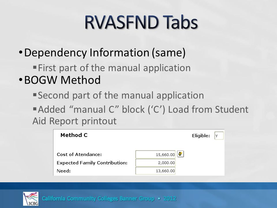 Dependency Information (same)  First part of the manual application BOGW Method  Second part of the manual application  Added manual C block ('C') Load from Student Aid Report printout