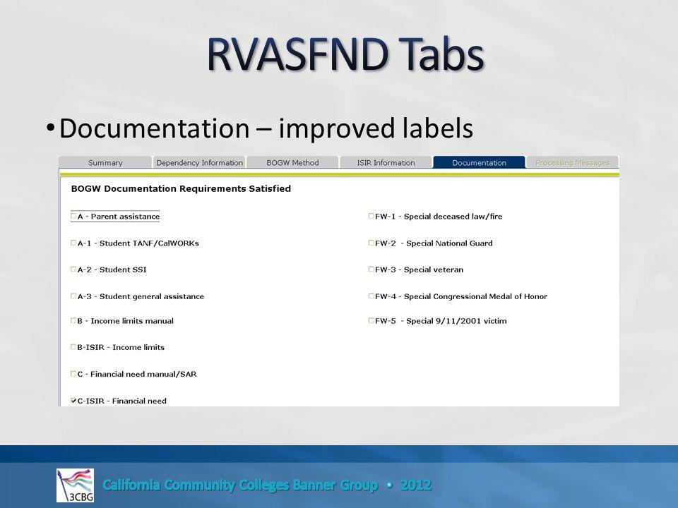 Documentation – improved labels