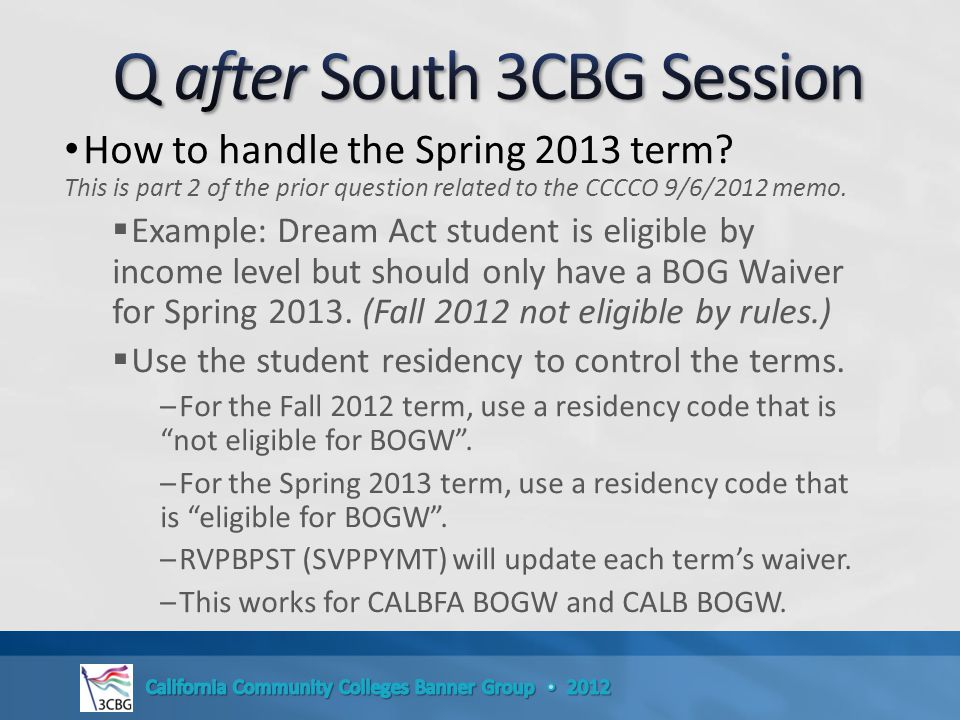 How to handle the Spring 2013 term.