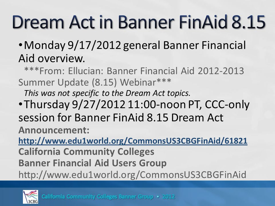 Monday 9/17/2012 general Banner Financial Aid overview.