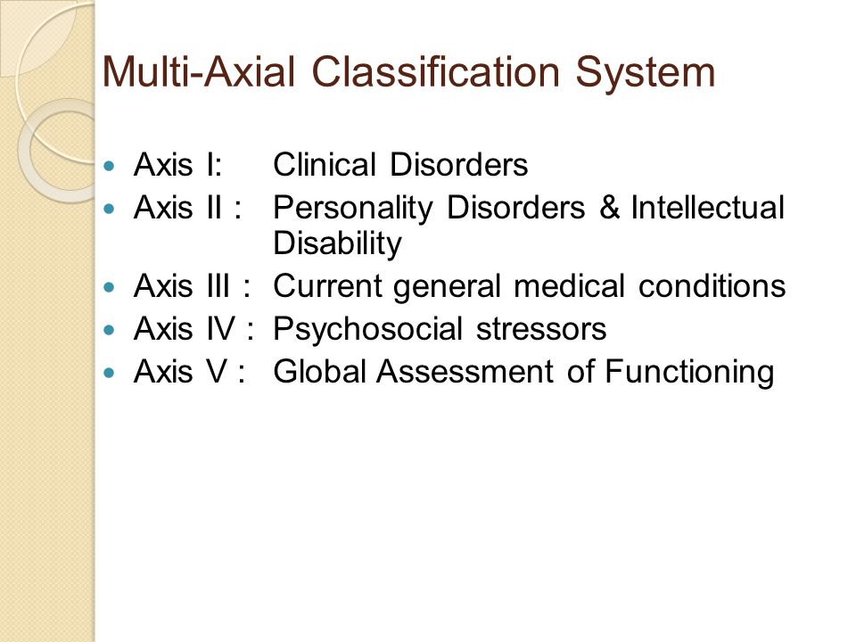 Multi-Axial Classification System Axis I: Clinical Disorders Axis II : Personality Disorders & Intellectual Disability Axis III : Current general medical conditions Axis IV : Psychosocial stressors Axis V : Global Assessment of Functioning