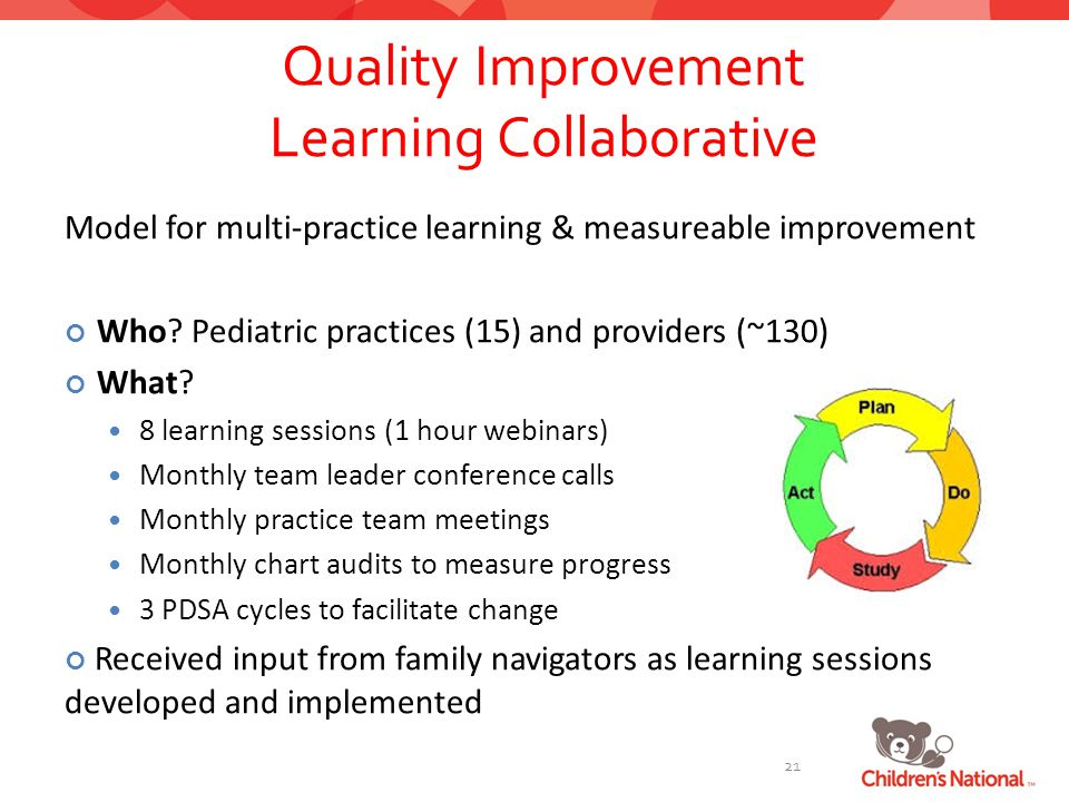 Quality Improvement Learning Collaborative Model for multi-practice learning & measureable improvement Who.