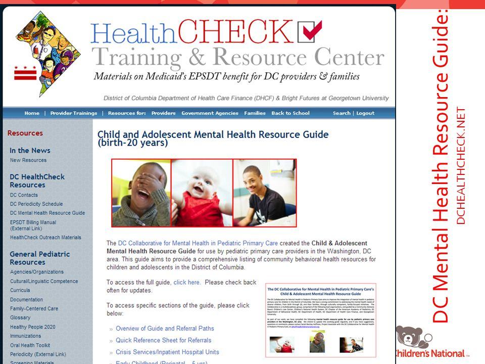 DC Mental Health Resource Guide: DCHEALTHCHECK.NET 30