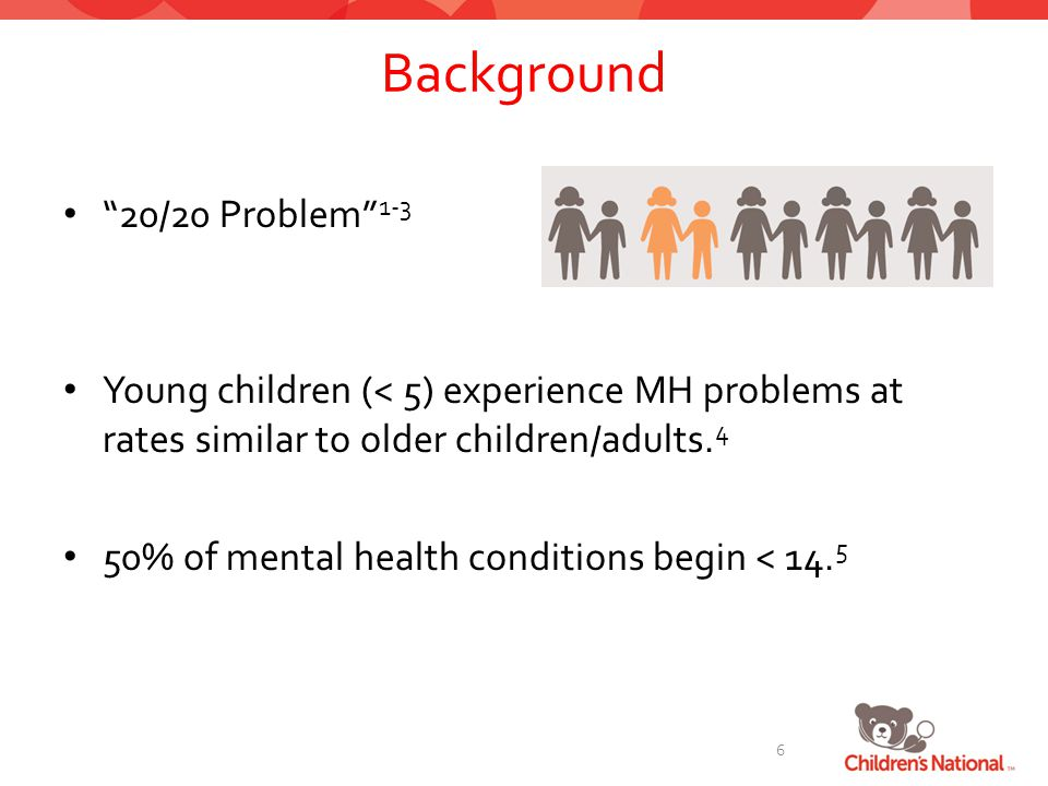 Background 20/20 Problem 1-3 Young children (< 5) experience MH problems at rates similar to older children/adults.