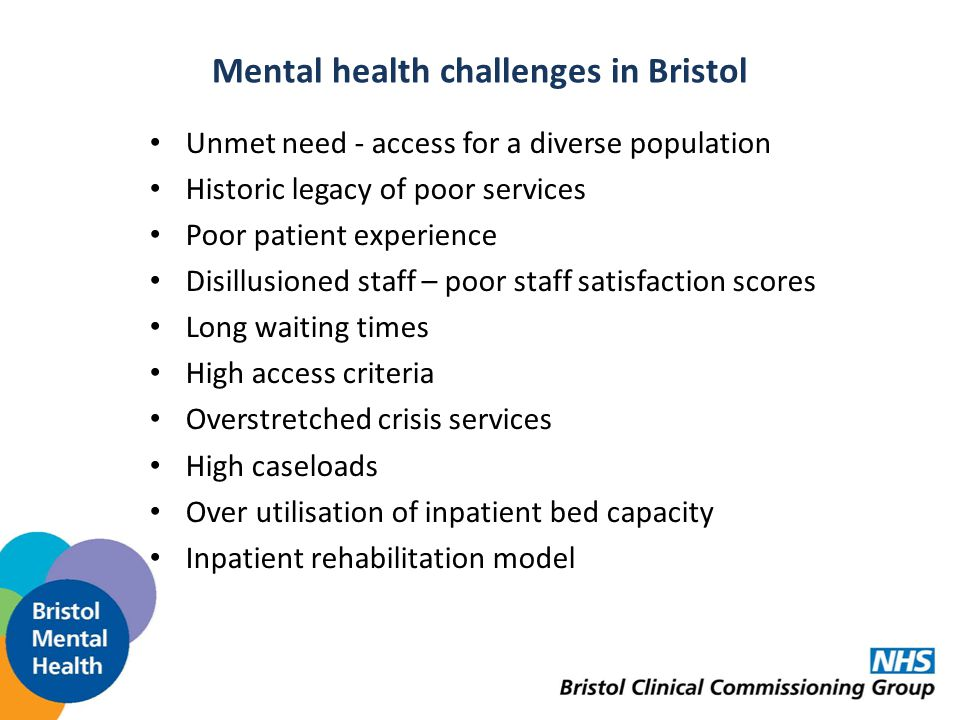 Mental health challenges in Bristol Unmet need - access for a diverse population Historic legacy of poor services Poor patient experience Disillusioned staff – poor staff satisfaction scores Long waiting times High access criteria Overstretched crisis services High caseloads Over utilisation of inpatient bed capacity Inpatient rehabilitation model