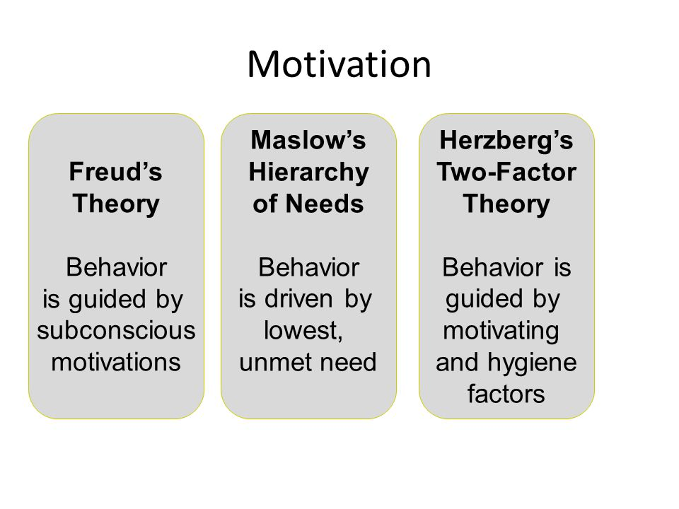 Motivation Freud's Theory Behavior is guided by subconscious motivations Maslow's Hierarchy of Needs Behavior is driven by lowest, unmet need Herzberg