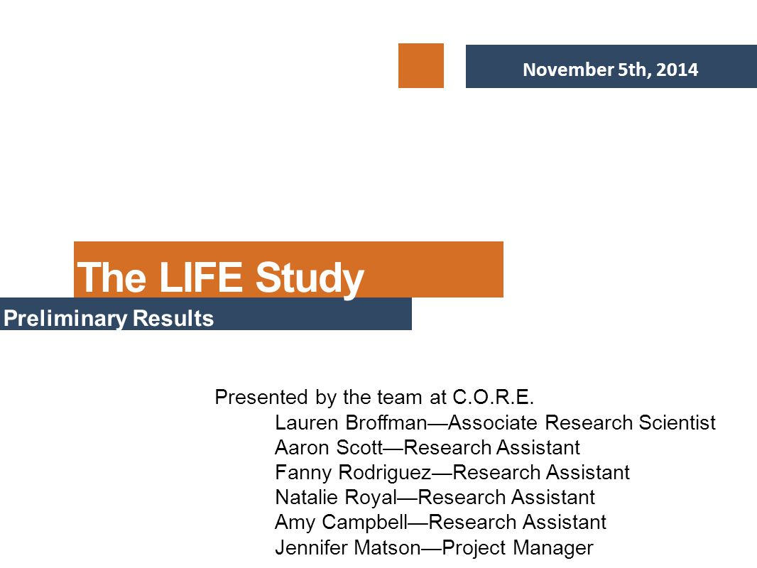 November 5th, 2014 Preliminary Results Presented by the team at C.O.R.E.