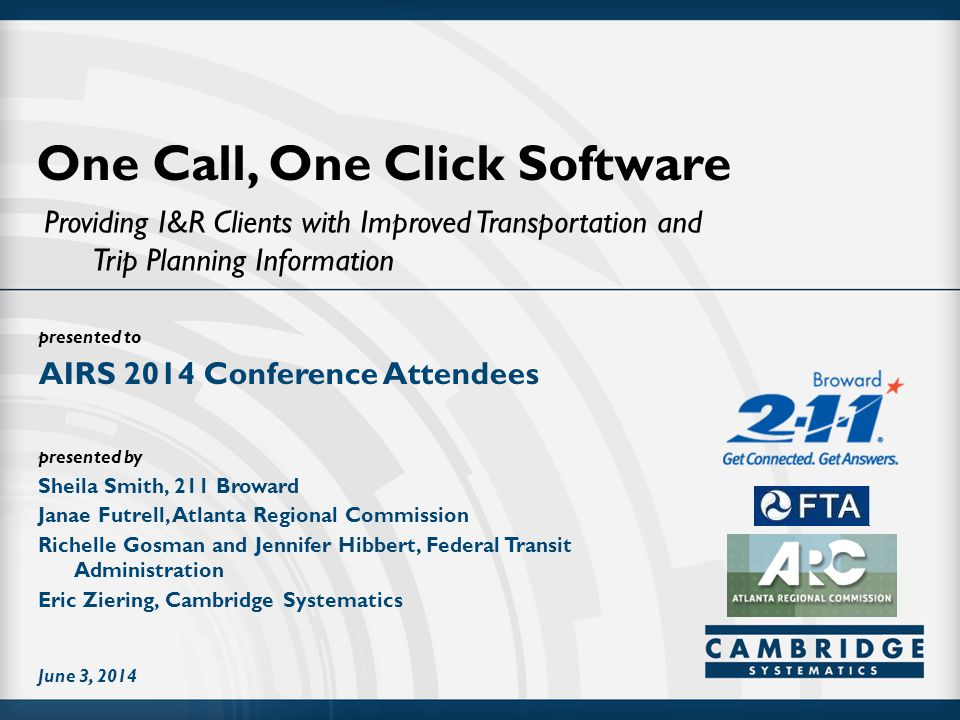 presented to presented by One Call, One Click Software Providing I&R Clients with Improved Transportation and Trip Planning Information AIRS 2014 Conference Attendees June 3, 2014 Sheila Smith, 211 Broward Janae Futrell, Atlanta Regional Commission Richelle Gosman and Jennifer Hibbert, Federal Transit Administration Eric Ziering, Cambridge Systematics