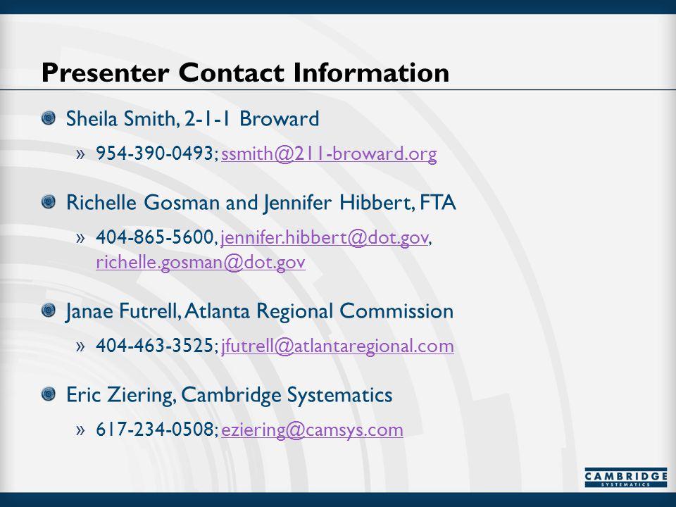Presenter Contact Information Sheila Smith, 2-1-1 Broward » 954-390-0493; ssmith@211-broward.orgssmith@211-broward.org Richelle Gosman and Jennifer Hibbert, FTA » 404-865-5600, jennifer.hibbert@dot.gov, richelle.gosman@dot.govjennifer.hibbert@dot.gov richelle.gosman@dot.gov Janae Futrell, Atlanta Regional Commission » 404-463-3525; jfutrell@atlantaregional.comjfutrell@atlantaregional.com Eric Ziering, Cambridge Systematics » 617-234-0508; eziering@camsys.comeziering@camsys.com